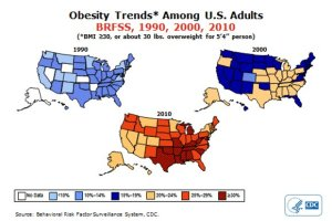 1990-2010 obesity maps us
